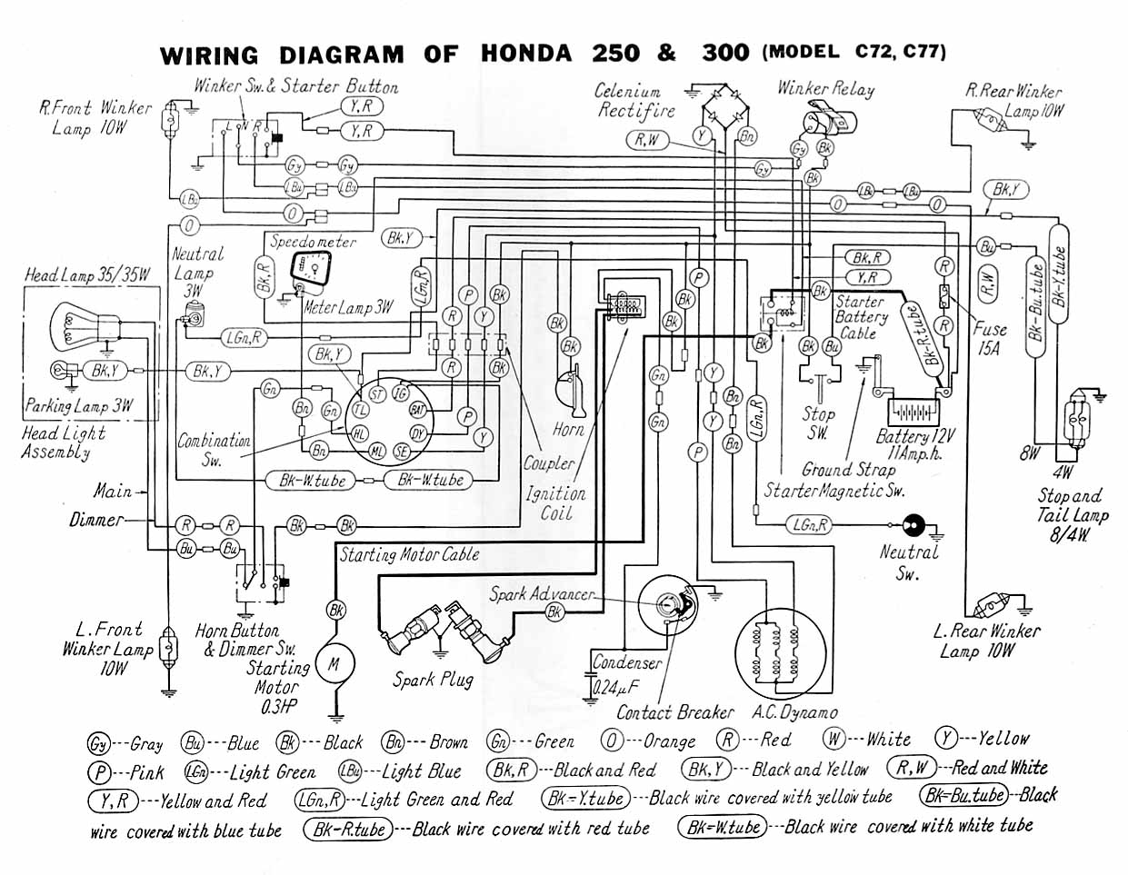 wiring diagrams Honda C90 Honda CL90