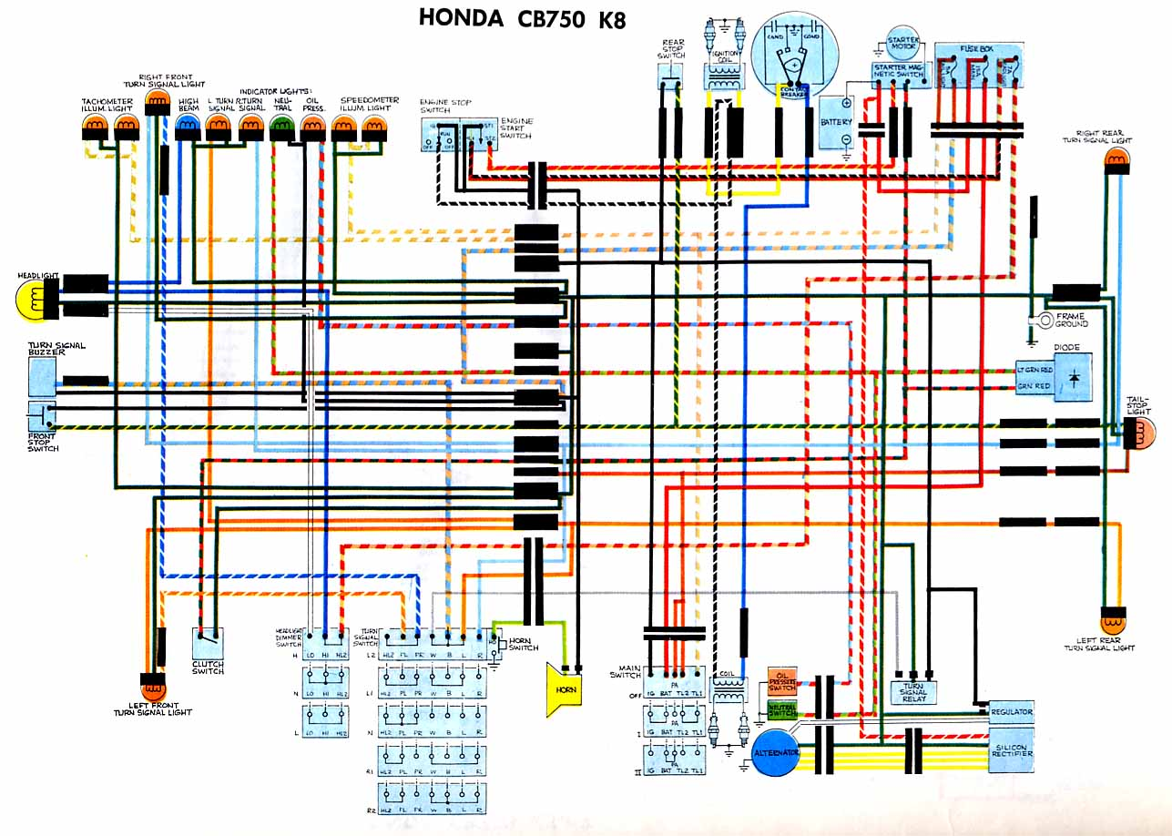 CB750k8 wiring diagrams Honda Motorcycle Wiring Diagrams at bakdesigns.co
