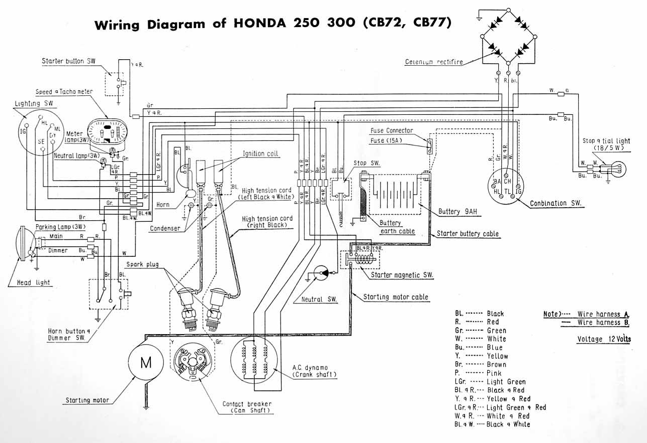 Motorcycle Honda Chopper Wiring Library Cm 250 Custom Cm250c Diagram Wire Circuit Cb77