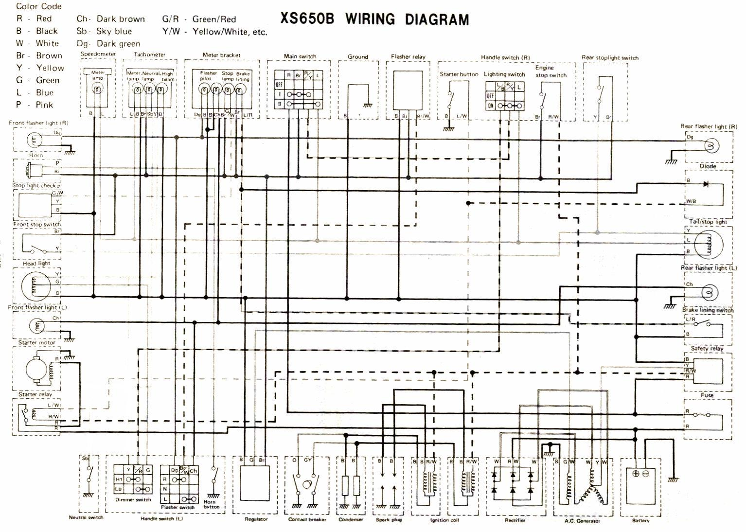 Wiring Diagrams 2001 Dyna Colored Lighting Diagram 1975 Xs650b