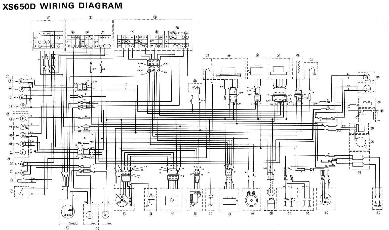 77XS650 wiring diagrams 1978 yamaha xs650 wiring diagram at virtualis.co
