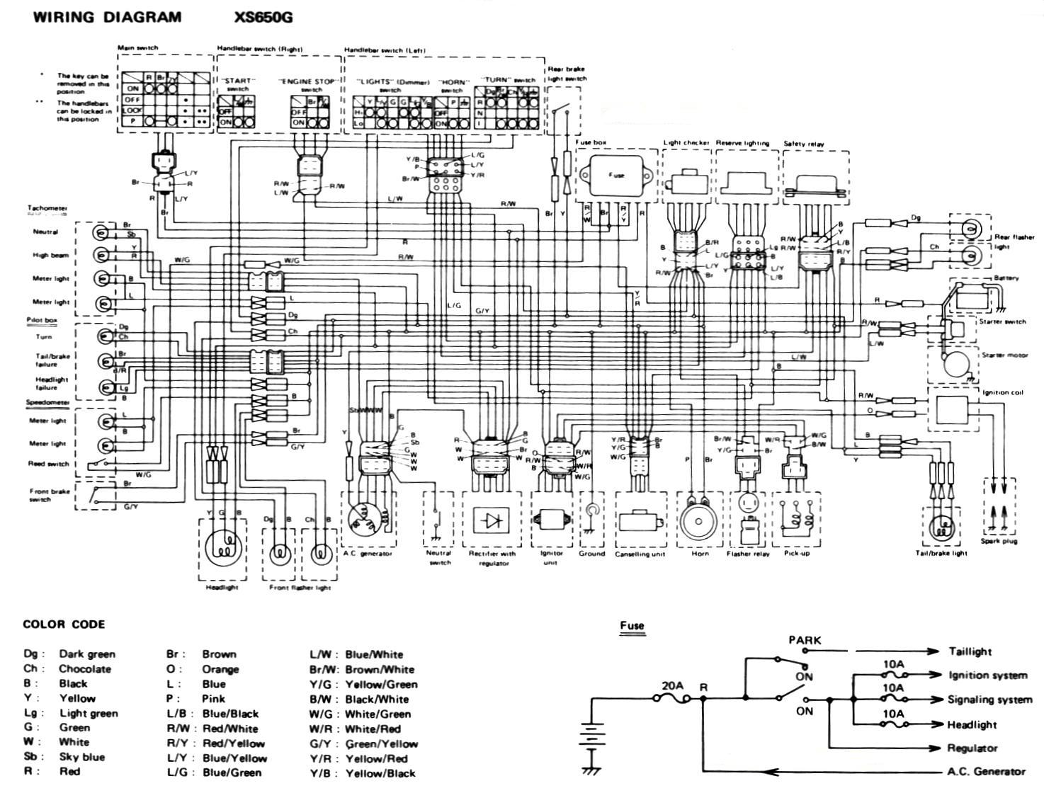 80XS650G wiring diagrams 1979 xs650 wiring diagram at crackthecode.co